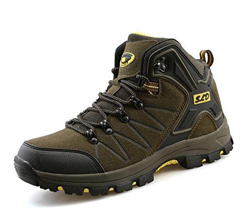 TQGOLD Scarpe da Trekking Uomo Donna,Impermeabile Scarpe da Escursionismo Arrampicata Stivali in Pelle (42 EU,Verde)
