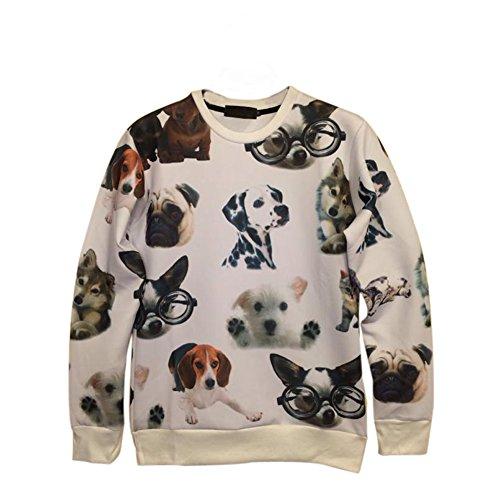 Demarkt Mode Punk Damen Herren 3D Muster Pullover Pulli Jumper Langarm Shirt Sweatshirt Wintershirt (M, Cartoo Hund)
