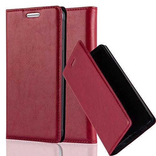 Cadorabo Hülle für Samsung Galaxy Alpha - Hülle in Apfel ROT - Handyhülle mit Magnetverschluss, Standfunktion & Kartenfach - Case Cover Schutzhülle Etui Tasche Book Klapp Style