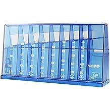 HMF - Clasificador de monedas (240 x 50 x 120 mm, con organizador de monedas horizontal), color azul