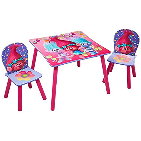 Trolls Kids Childrens Table and 2 Chair Set by