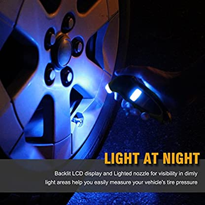 VIDEN Tire Gauge Medidor Digital de Presión Neumáticos, Pantalla Iluminada LCD, 150 PSI 4 Ajustes, Luz LED Boquilla, Herramienta Manual de Automóviles, Motocicletas, Bicicletas