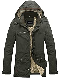 Zicac Mens Autumn Winter Thicken Warm Hooded Outdoor Military Slim Fit Long Sleeve Cotton Padded Casual Lightweight Warm Zipped Jacket Parka Trench Coats Blazer Windbreaker Outerwear