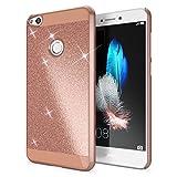 NALIA Handyhülle für Huawei P8 Lite 2017, Glitzer Hard-Case Back-Cover Schutz-Hülle, Handy-Tasche im Glitter Sparkle Design, Dünnes Bling Strass Etui Skin für P8-Lite Smart-Phone, Farbe:Rose Gold
