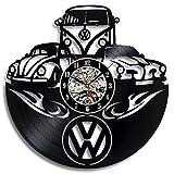 EVEVO VW Volkswagen Wanduhr Vinyl Schallplatte Retro-Uhr groß Uhren Style Raum Home Dekorationen Tolles Geschenk Wanduhr VW Volkswagen