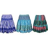 Womens Aurora Silk Skirt Recycled Sari Tiered Knee Length Skirts Lot Of 3