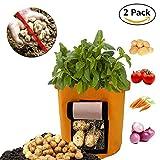 Kartoffel Pflanzsack, 2er-Pack Kartoffel Grow Bag, 8-Gallonen Pflanzbeutel aus Vliesstoff mit Tragegriffen für Kartoffel/Karotte und mehr (Orange)