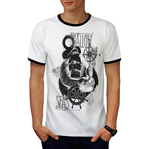 Weiblich Kostüm Schiff Kapitän (Pirat Flach Meer Schiff Kapitän Herren M Ringer T-shirt |)