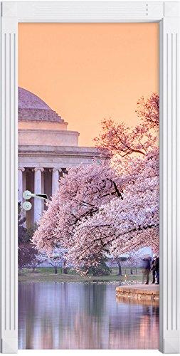 Jefferson Memorial e Cherry Blossom Festival come Murale, Formato: 200x90cm, telaio della porta, adesivi porta, (Telaio Patriottico)