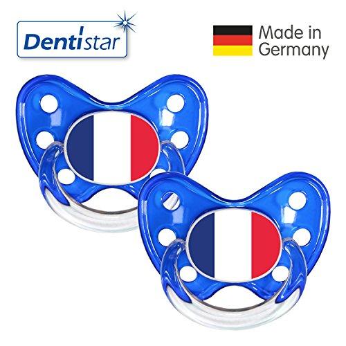 Preisvergleich Produktbild Dentistar® Silikon Schnuller 2er Set inkl. 2 Schutzkappen - Nuckel Größe 3, ab 14 Monate – Fahnen Fan Kollektion – Frankreich