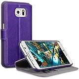 Samsung S6 Hülle, Terrapin Leder Tasche Case Hülle im Bookstyle mit Standfunktion Kartenfächer für Samsung Galaxy S6 Hülle Lila