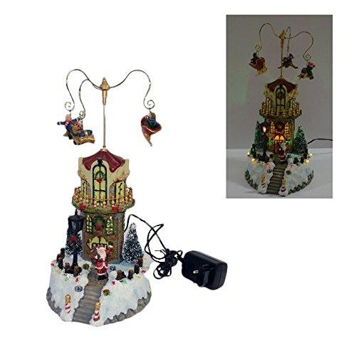 Carillon natalizio elettrico: casa babbo natale pieno di effetti luminosi e sonori