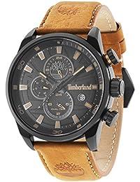 Timberland Henniker II Hombre Reloj de cuarzo con Negro esfera analógica pantalla y correa de cuero marrón oscuro 14816jlb/02