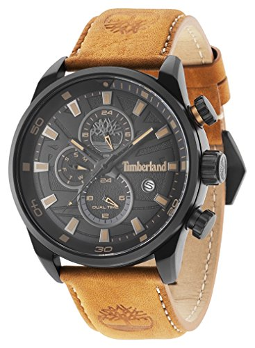 Timberland Men's Quartz Watch with Black Dial Analogue Display and Dark Brown Leather Strap 14816JLB/02