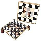 Personalisiertes Foto-Damespiel - bedruckt mit ihren Bildern (Deluxe: Holzausführung mit Fotoscheiben)