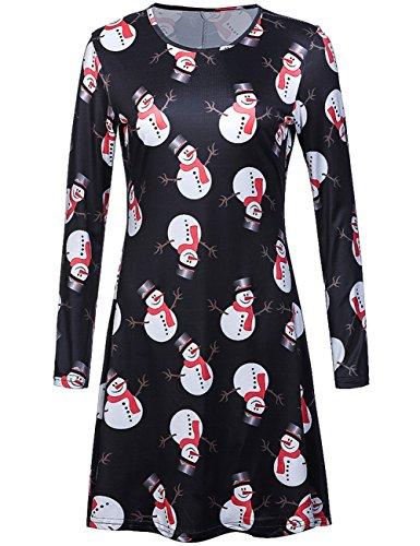 Wangyue Damen Schneemann Gedruckt Nettes Weihnachtskleid Langarm A-line Weihnachten Christmas Swing Kleider Schwarz (Nette Ideen Kostüme Frauen)