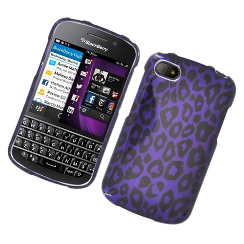 Eagle Cell PIBBQ10G2D171 Stylish Hard Snap-On Protective Case for BlackBerry Q10 - Retail Packaging - Purple Leopard Blackberry Hard Faceplates