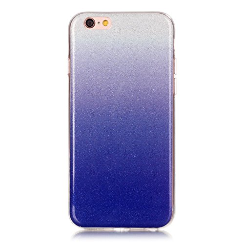 iPhone 6 Hülle, iPhone 6S Hülle, E-Lush Mode Muster TPU Hülle für Apple iPhone 6 6S(4,7 zoll) [Kratzfeste, Scratch-Resistant] Weiche Flexibel Silikon Handyhülle Gradient Crystal Bling Clear Transparen Hell Blau