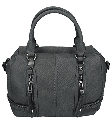 Betz. Borsa da donna borsa borsa per donna MILANO 2 borsa in similpelle con chiusura a zip, tracolla e due manici Grigio