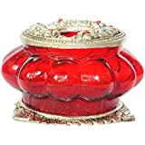 MHE Metal Carving Glass Ash Tray With Red Colour