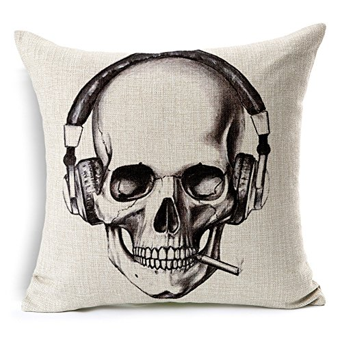 Poens Dream Cuscino, Vintage Retro Sugar Skull Printed Cotton Linen Decorative Pillow Cushion Cover, 17.7 x 17.7inches