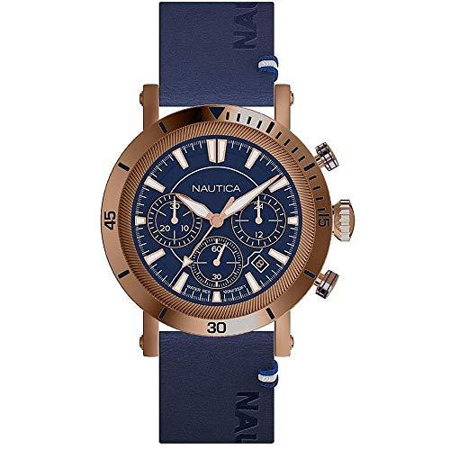 Nautica Homme 44mm Bracelet Cuir Bleu Quartz Analogique Montre NAPFMT004