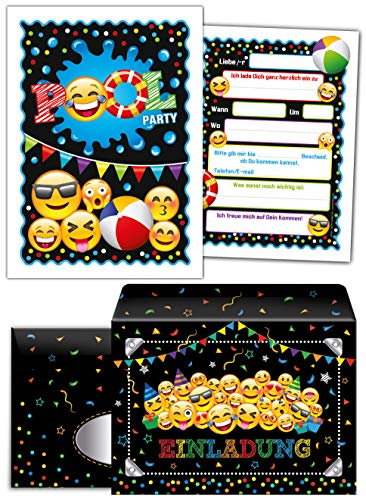 12 Einladungskarten incl. 12 Umschläge zum Kindergeburtstag Schwimmbad Jungen Jungs Mädchen Einladungen zum Geburtstag Pool-Party
