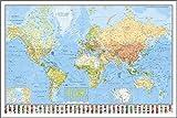 Close Up Weltkarte Die Welt - deutsch - aktueller Stand, mit Flaggen, 91,5 x 61 cm