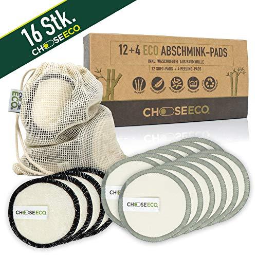 16 ChooseEco Peeling- & Abschmink-Pads - Wiederverwendbar & Waschbar + 1 Wäschebeutel - Zero Waste Gesichtsreinigung Bambus Wattepads -