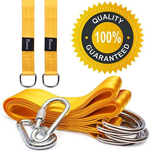 EKKONG schaukel befestigung, 1 Paar Swing Hanging Gurt Kit Premium Schaukel Hängematte Hängesessel Befestigungs-Set aufhängeset für schaukel garten und hängematten 150*5cm, Gelb