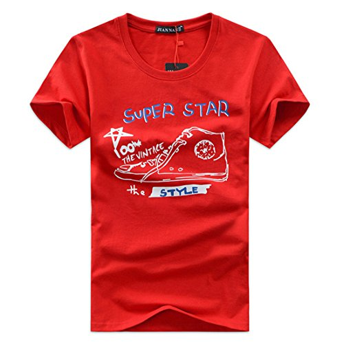 Men's Letters Printed Cotton Short Sleeve Tee Shirt red