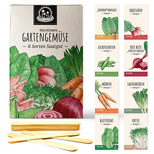 Gemüse Samen Set mit 8 Sorten Saatgut samenfest - für Garten, Hochbeet & Balkon mit Pflanzenstecker aus Holz - Geschenkset mit alten Sorten - PilzWald