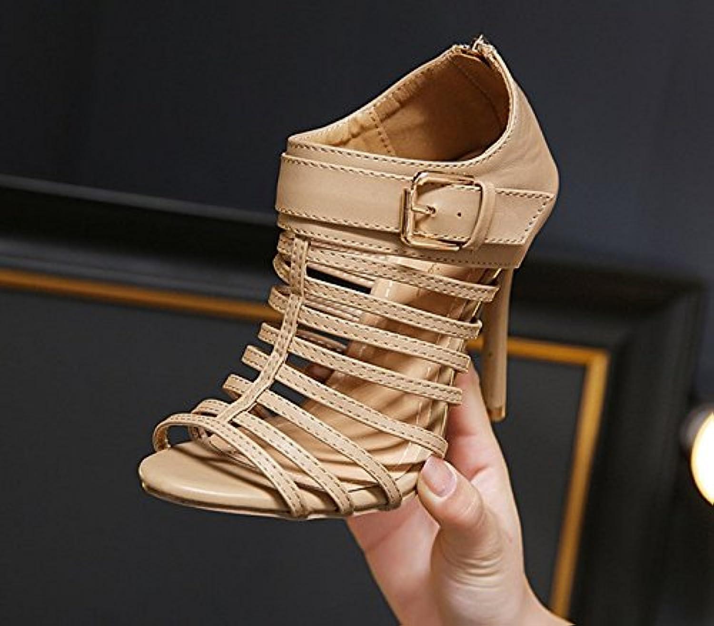 52dfece48b699b KHSKX-Abricot 8.5Cm Chaussures Bouche De Poisson Super Femelle Creuse  Creuse Creuse L'Été Des s À Talons Chaussures Avec.