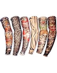 Daorier Lot de 6 Ensemble de Manchette Temporaire Faux Tatouages Tattoo Manchette Couvre-bras rétro Tatouage impression Manchon de Compression Coudière Protection UV Respirant Unisexe Couleur Aléatoire