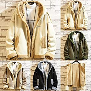 Floweworld Mens Fuzzy Fleece Mäntel Winter Warm Lose Einfarbig Lässige Wolle Jacken Mode Mit Kapuze Strickjacke Outwear…