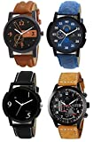 Om Designer Analogue Multicolor Dial Watch Leather Strap Watch-for Men's & Boy's (Combo Pack of 4)