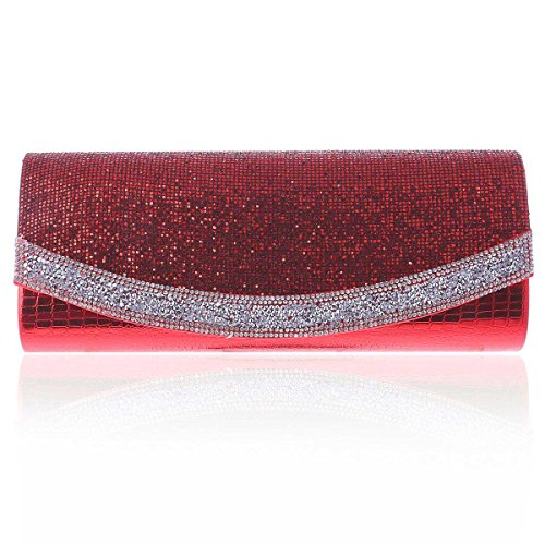 Damara® Noble Ladies Scintillanti Strass Per Lunghe Affascinanti Borse Da Sera Rosse
