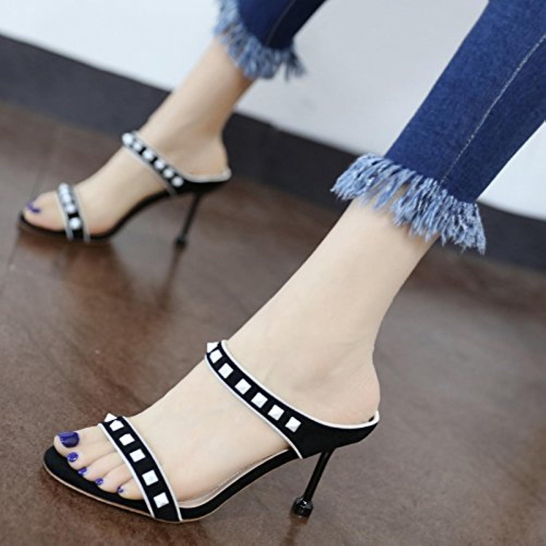 GaoXiao la nuova moda rivetti a decorare un tacco alto pantofole in estate,nero | Meno Costosi Di  | Uomo/Donna Scarpa