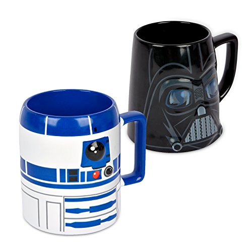 Ideal casa Pack de 2 Tazas de gres. Mugs con Relieve de los Personajes de Star Wars R2-D2 y Darth Vader