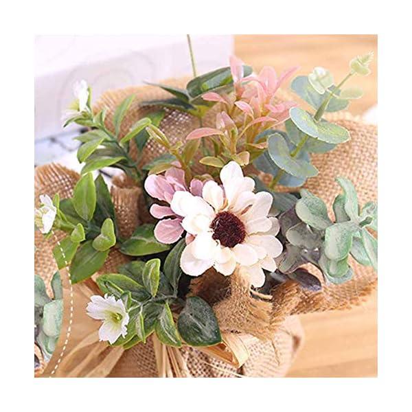 BIGBOBA Lavanda Plantas Artificiales-Maceta de Tejido de lino flores Artificiales Decorativas de Hogar Oficina Mesa de…