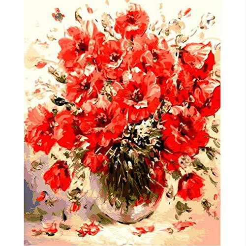 KMxm Rahmenlose Bild Rote Blume DIY Digitale Malerei Durch Zahlen Moderne Wandkunst Handgemaltes Ölgemälde Auf Leinwand Für Einzigartiges Geschenk