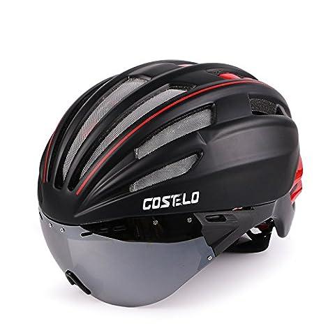 224g Ultra léger vélo de vélo de route vélo de montagne VTT vélo de sécurité casque de qualité supérieure Airflow casque de vélo spécialisé pour le vélo de route et de montagne - la sécurité Certifié casques de vélo pour les hommes et femmes adultes, adolescents garçons et filles - Confortable, léger, respirant-lentilles amovibles - Myopie peut également être pris ( Color : Black red , Size : Black and red lenses )