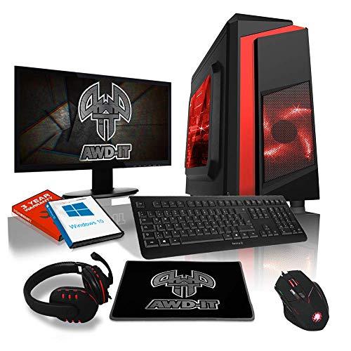 """Ensemble Gaming PC AWD-IT - Processeur 4 cœurs AMD A10 9700 • Écran LED 22""""• Clavier et Souris Gamer • 16 Go • 1 to • Étui PC à LED • WiFi • Windows 10"""