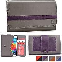 Funda tipo cartera Belt Clutch de Cooper Cases(TM) para smartphones de Prestigio MultiPhone 5503 Duo / 5508 Duo / 7500 para sujetar al cinturón en Gris / Morado (Tira para sujetar al cinturón; ranuras para tarjetas de crédito y carnets de identidad, bolsillo; diseño en dos colores)