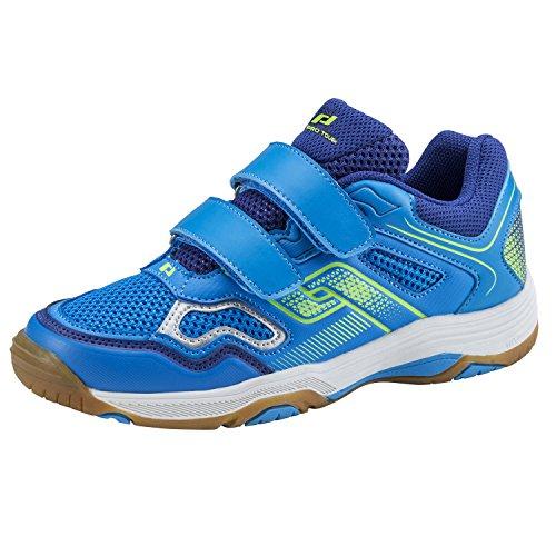 Pro Touch Indoor-Schuh Rebel II Jr. Klett, Unisex-Kinder Multisport Indoor Schuhe, Blau (Blue/Navy/Green Lime 000), 28 EU (10.5 UK)