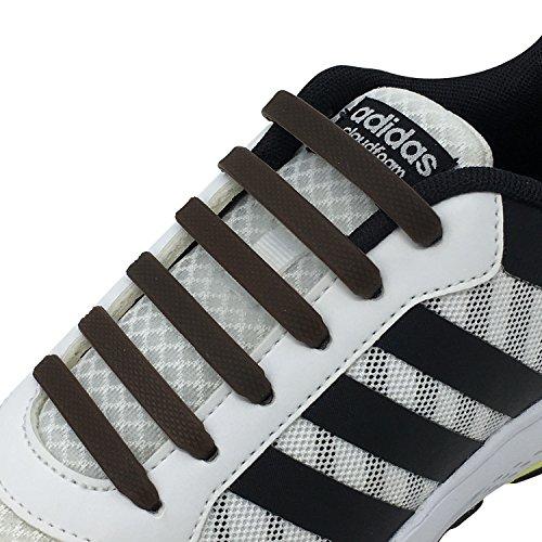 Newkeen sin corbata Cordones de zapatos para niños y adultos cordones de zapatos de atletismo atlética de silicona elástico plano de los zapatos del tablero Sneaker boots (Brown)