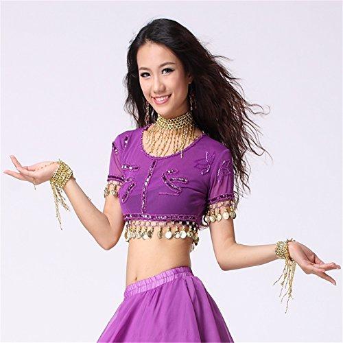Women Sexy Dance Tops Bauchtanz Costume Embroidered With Coins Short Top Dancewear Bauchtanz Tops Purple