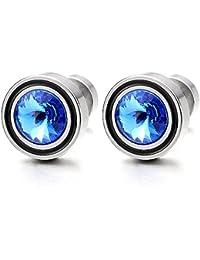 2 Enchufe Falso Fake Plug, Pendientes de Hombre Mujer, Aretes, Acero Inoxidable, con Azul Circonita 6MM
