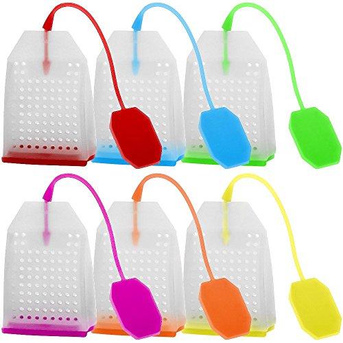 FineGood SYNCHKG115563 - Confezione da 6 infusori in silicone riutilizzabili con filtro per tè, con 6 colori