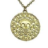 Pirati dei Caraibi. Collana di medaglione della moneta del teschio azteco del tesoro